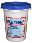 "Chlorine-3"" Tablets (50 Lbs) Trichlor 90% Available Cl."